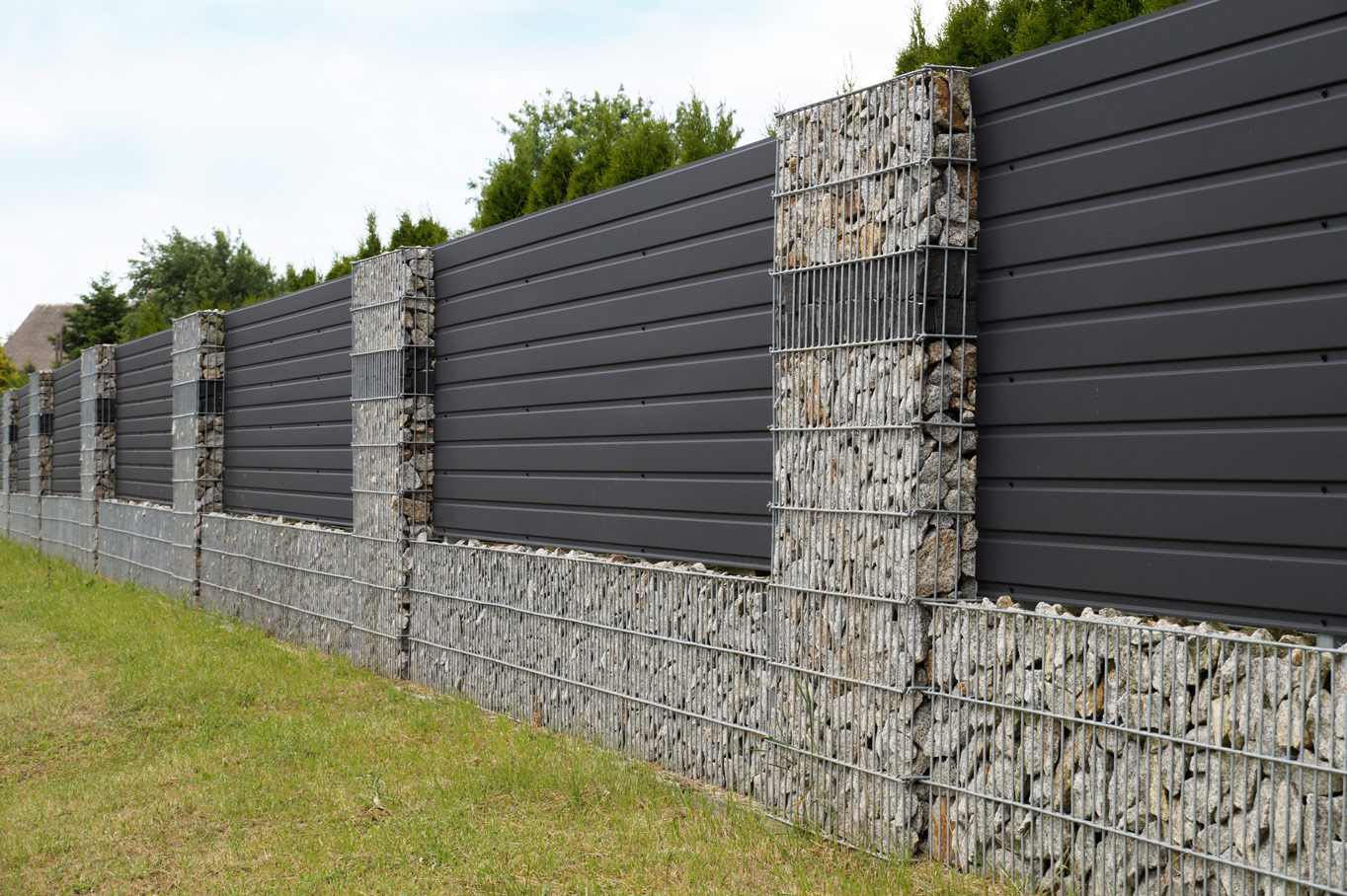 garden-fence-metal-panel-stone-wall